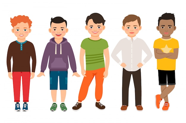 Cute little boys characters isolated. guys lads vector illustration