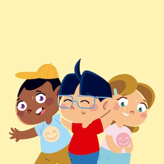 Cute little boys and girl characters cartoon, children  illustration