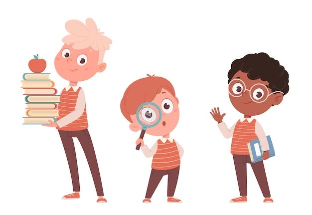 Симпатичные маленькие мальчики, набор из трех поз. снова в школу концепции. забавные мультяшные персонажи