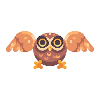 Cute little brown owl hunting flat icon