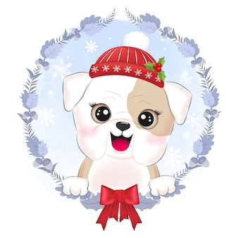 Cute little bulldog with wreath christmas illustration