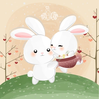 Cute little bunnies dancing all day