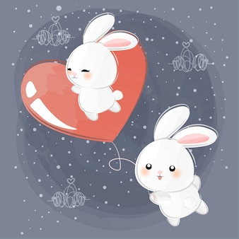 Cute little bunnies flying