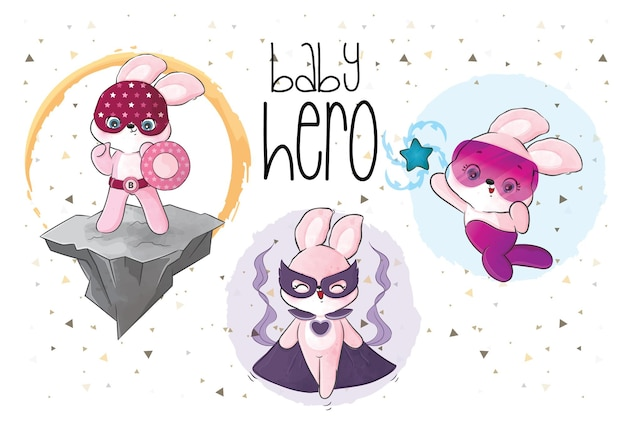 Cute little bunnies heroes team illustration
