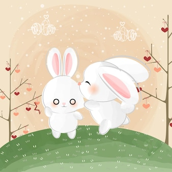Cute little bunnies and kiss