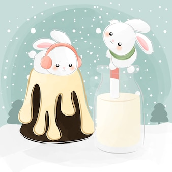 ケーキの上に横たわっているかわいいウサギ