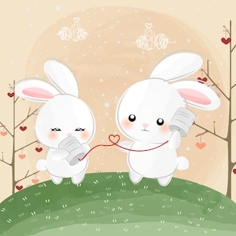 Cute little bunnies whisper love Premium Vector