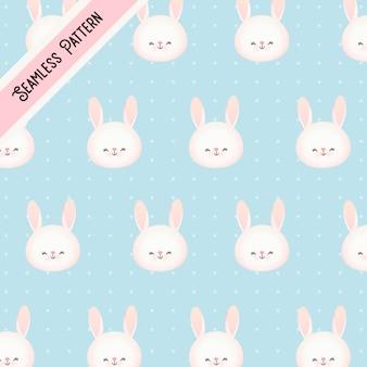 Милый маленький кролик и точки бесшовный фон