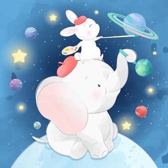 かわいいウサギと象が惑星を描く