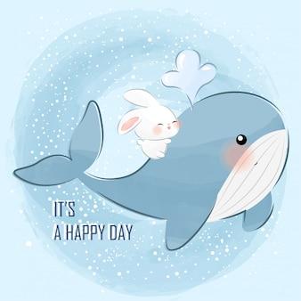 Милый маленький зайчик и кит