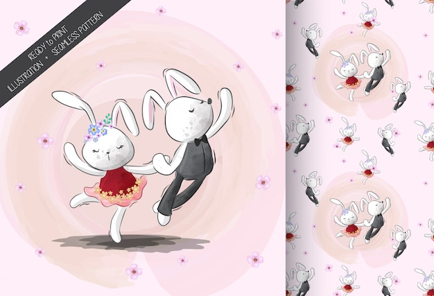 Cute little bunny dance with seamless pattern