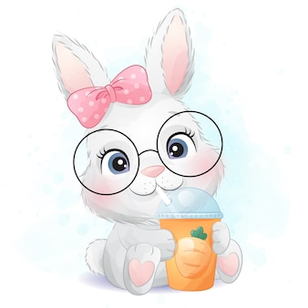 Cute little bunny drinking a carrot juice illustration