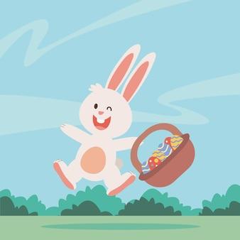 かごのキャラクターイラストで描かれた卵とかわいいウサギのイースター