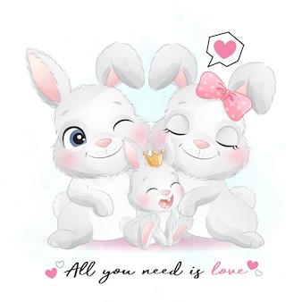 수채화 일러스트와 함께 귀여운 작은 토끼 가족