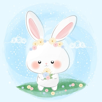 Cute little bunny and flowers