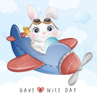 Милый маленький кролик летать с самолета иллюстрации