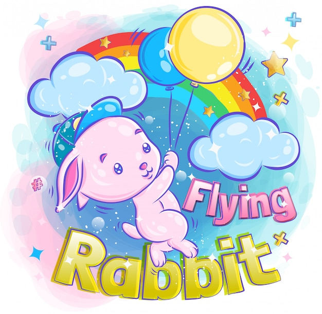 Cute little bunny flying with balloon illustration
