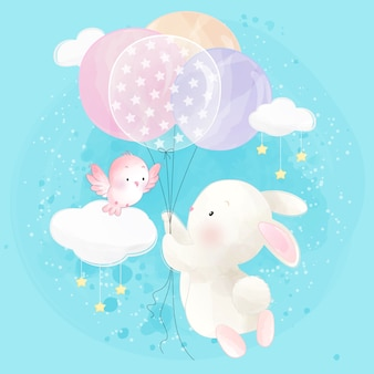Cute little bunny flying with balloon