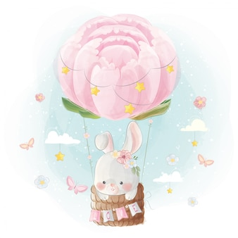 Cute little bunny flying with peonies balloon