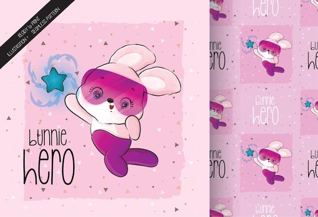 완벽 한 패턴으로 귀여운 작은 토끼 영웅 캐릭터
