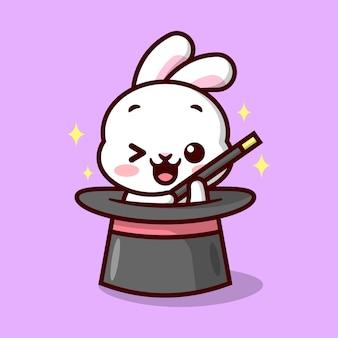 귀여운 작은 토끼가 마술 지팡이를 들고 있으며 큰 마술사 모자 만화 마스코트 및 캐릭터에서 나타납니다.