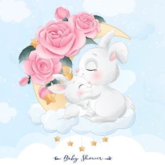 Cute little bunny mother and baby sitting in the moon illustration