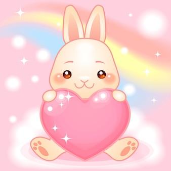 虹のファンタジー世界でかわいいウサギ