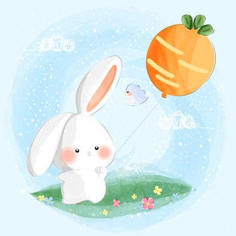 Cute little bunny playing with balloon