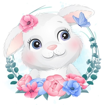 Cute little bunny portrait with floral
