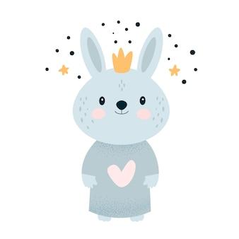 Cute little bunny rabbit in crown