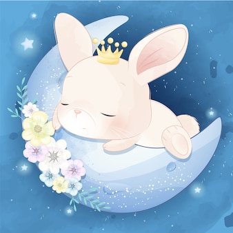 Cute little bunny sleeping in the moon