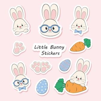 귀여운 토끼 스티커 프리미엄 벡터