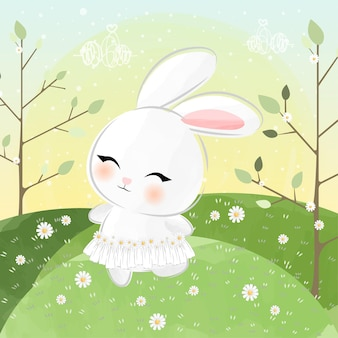 Cute little bunny wearing daisy skirt