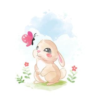 Милый маленький кролик с розовой бабочкой иллюстрации