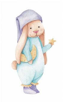 Милый маленький кролик со звездой и луной. акварельные иллюстрации