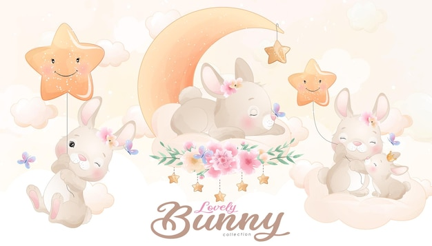 Piccolo coniglietto sveglio con l'insieme dell'illustrazione dell'acquerello