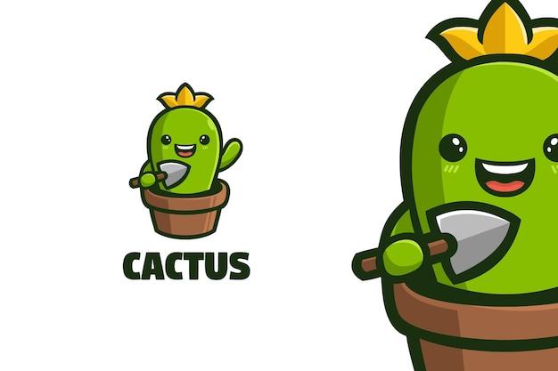 Симпатичный маленький шаблон логотипа талисмана кактуса