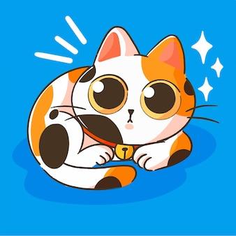 귀여운 작은 옥양목 새끼 고양이 마스코트 낙서 일러스트 자산