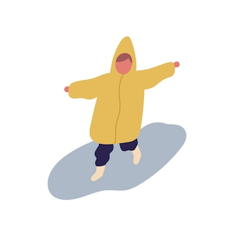Cute little cartoon child in raincoat running on puddle vector flat illustration. happy kid jumping having fun at rainy day isolated on white background. colored baby funny childhood outdoor.