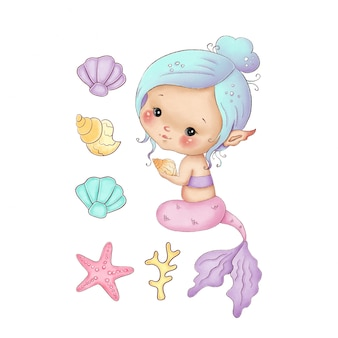 Cute little cartoon mermaid with a pink tail and blue hair on a white background