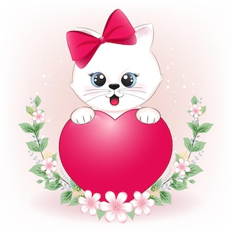 Милый маленький кот и сердце с цветочной рамкой