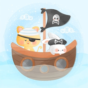 Cute little cat and bunny on pirate ship