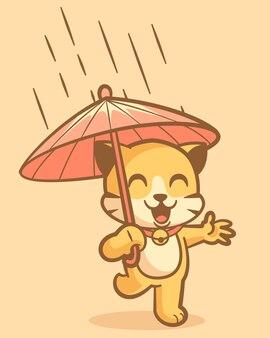 Милый маленький кот мультипликационное животное с зонтиком во время дождя, талисман