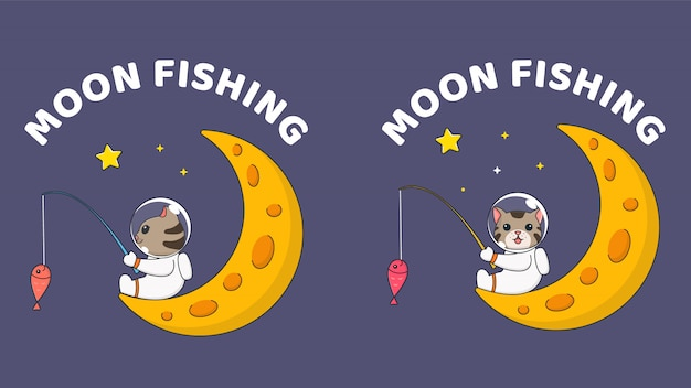 Милая маленькая кошка, ловящая рыбу на луне