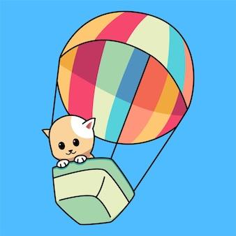 かわいい小さな猫がカラフルな熱気球の漫画イラストで飛ぶ