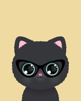 Cute little cat in glasses poster. vector.