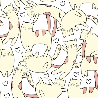 Cute little cat hand drawn seamless pattern
