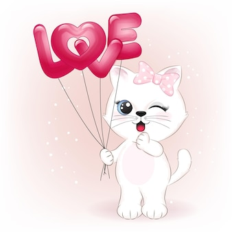사랑 풍선 발렌타인 데이 컨셉 일러스트를 들고 귀여운 작은 고양이