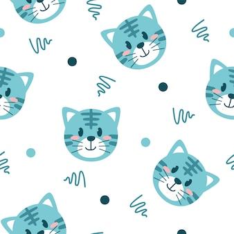 Cute little cat illustration pattern
