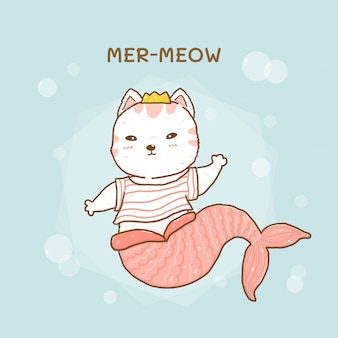 泡とかわいい小さな猫人魚の鳴き声